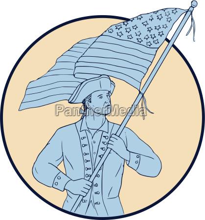american patriot waving usa flag circle