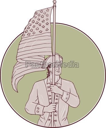 american patriot standing usa flag circle