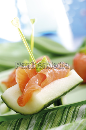 cucumber appetizer with salmon and wasabi