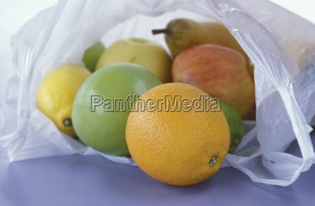 fruit in plastic bag