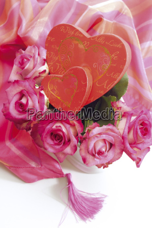 bouquet of flowers and heart shaped