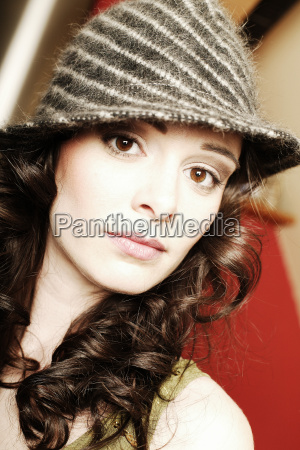 woman with striped hat portrait