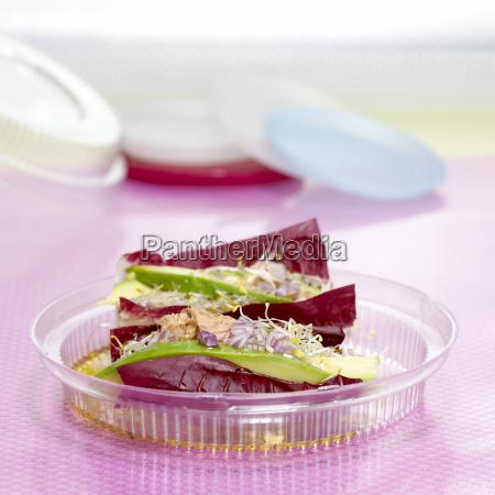 salad in plastic box close up