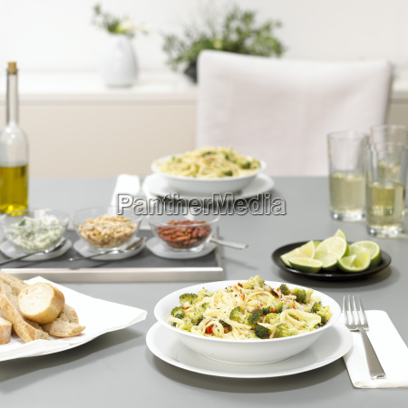 lunch for two pasta with broccoli
