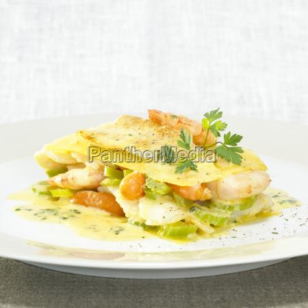 seafood lasagne close up