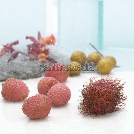 lychees and longan fruit