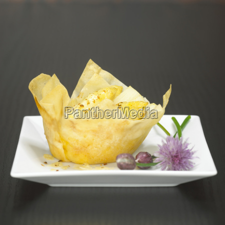 filo pastry filled with asparagus close