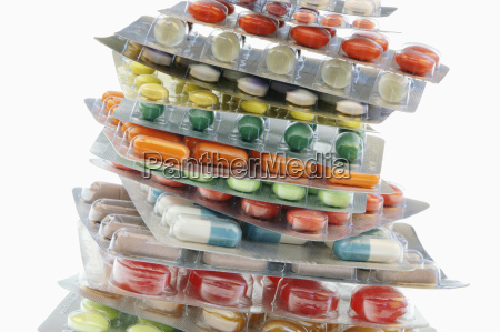 several tablets and capsules in blister