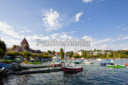 switzerland lausanne view of sailing ships