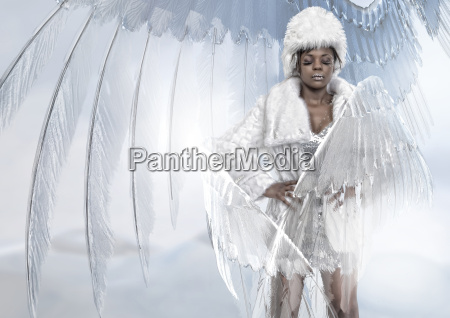 woman wearing fur coat and angel