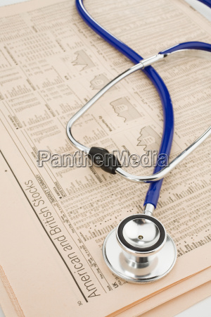stethoscope on stock reports elevated view