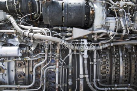 turbine of plane close up