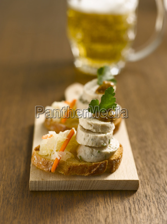 slices of baguette with bavarian veal