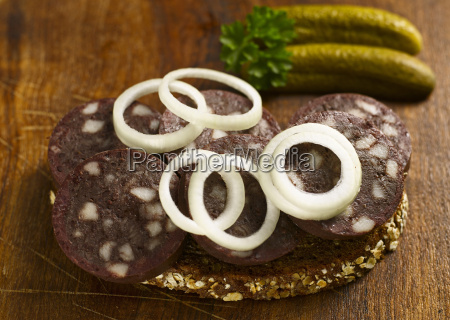 slice of bread with blood sausage