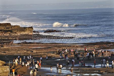 indonesia bali tourists on shore