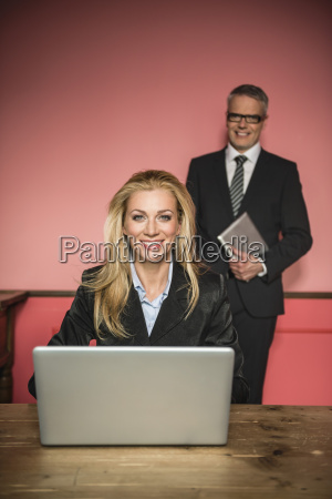 germany stuttgart businessman and woman with