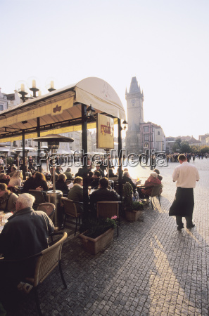 czech republic prague people at cafe