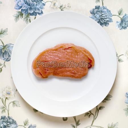 raw escalope pork elevated view