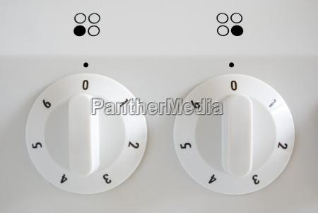 knobs on oven full frame close