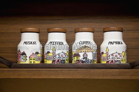 variety of spice jars in rack