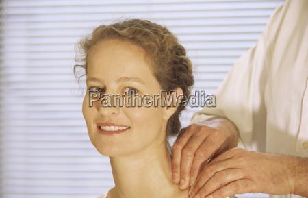 woman receiving massage portrait