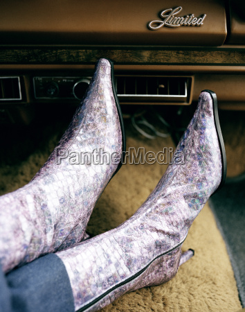 woman wearing boots close up