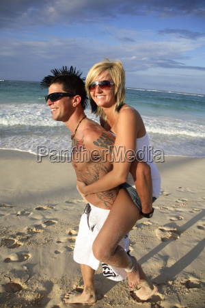dominican republic young couple on beach