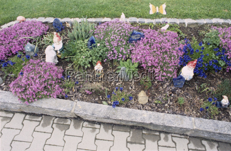 flowerbed with garden gnomes