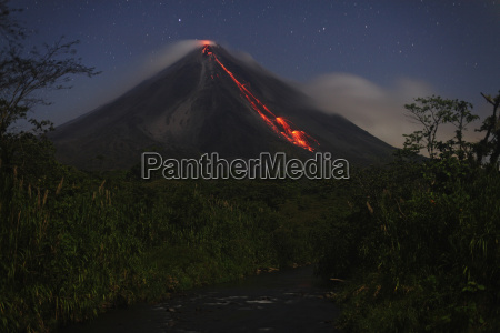 costa rica lava flow from arenal