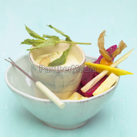 exotic fruits and dip in a