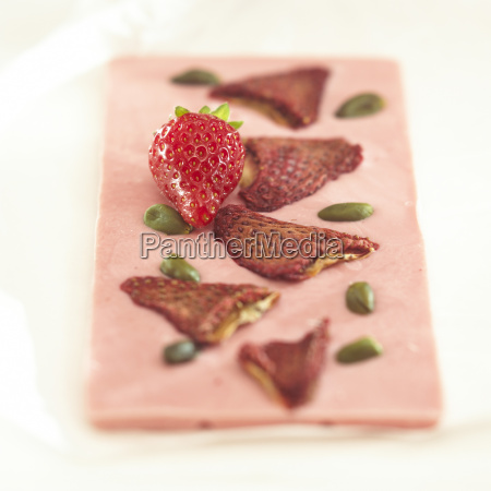 chocolate with strawberry flavour close up