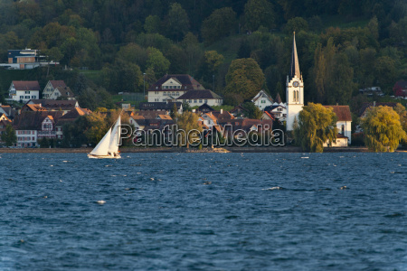 switzerland berlingen view of sailing boat