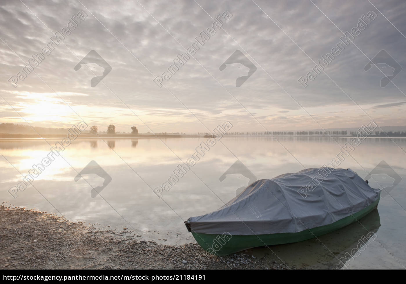 germany, , allensbach, , covered, boat, at, lake - 21184191
