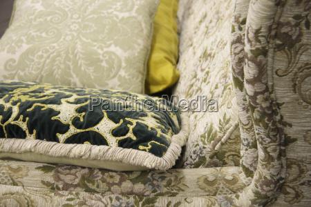 cushion on sofa close up