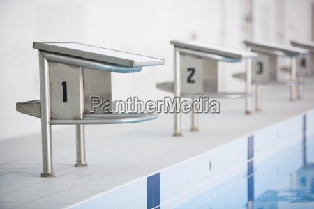 starting blocks in swimming stadium