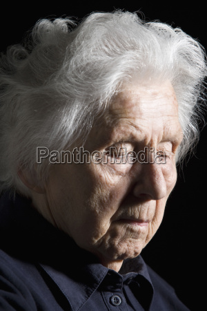 senior woman with eyes closed close