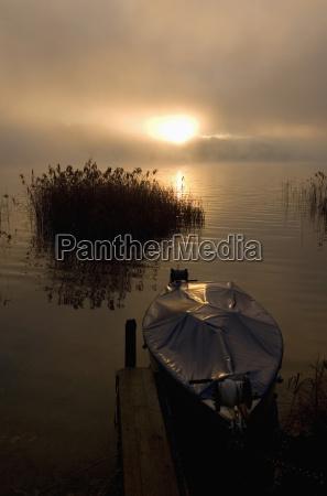 austria salzkammergut lake irrsee boat at