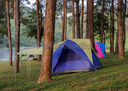 camping tents near lake at pang