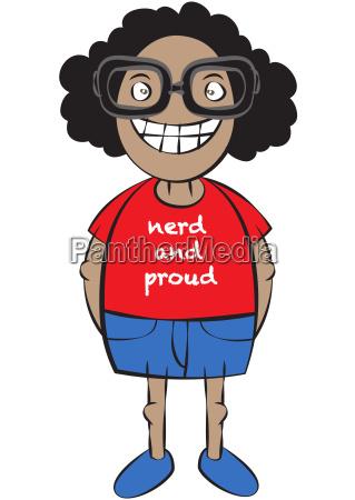 cute nerd character cartoon