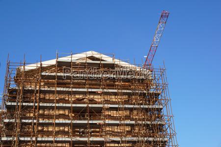 extensive scaffolding providing platforms for work