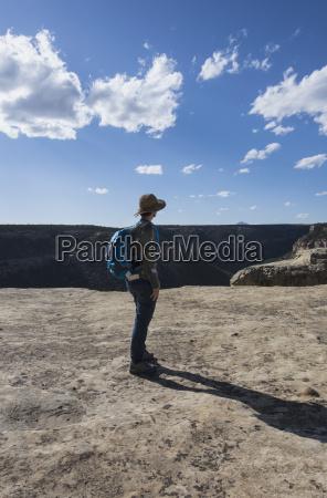 usa colorado hiker looking at view