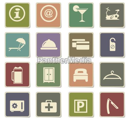 hotel room services icon set
