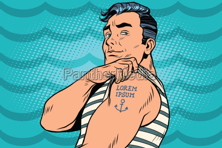 sailor with lorem ipsum tattoo on