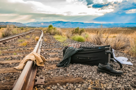 suitcase on the tracks