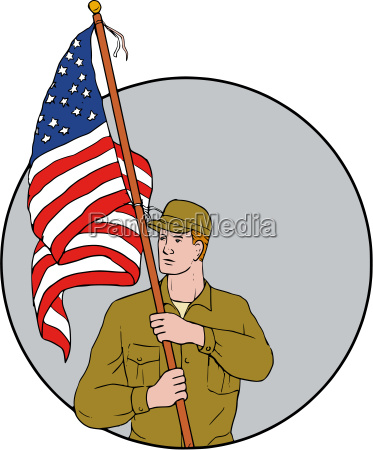 american soldier holding usa flag circle
