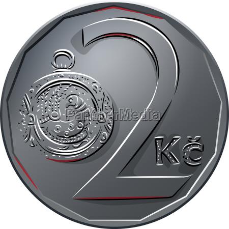 vector money two czech crones coin