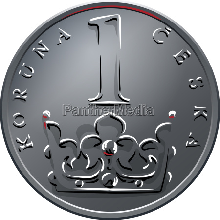 vector money one czech crones coin