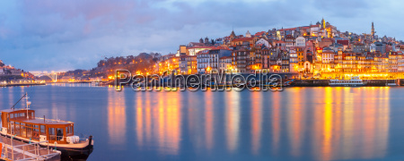 old town of porto during blue