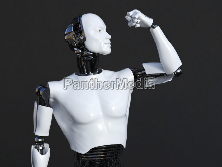 3d rendering of male robot flexing