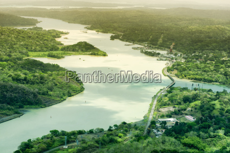 aerial view of panama canal on